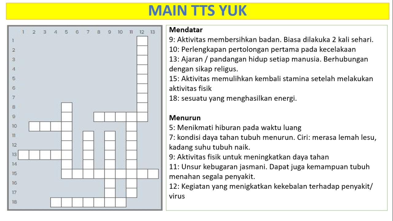 Crossword Prakasita Classroom: Bermain Sambil Belajar Pola Hidup Sehat