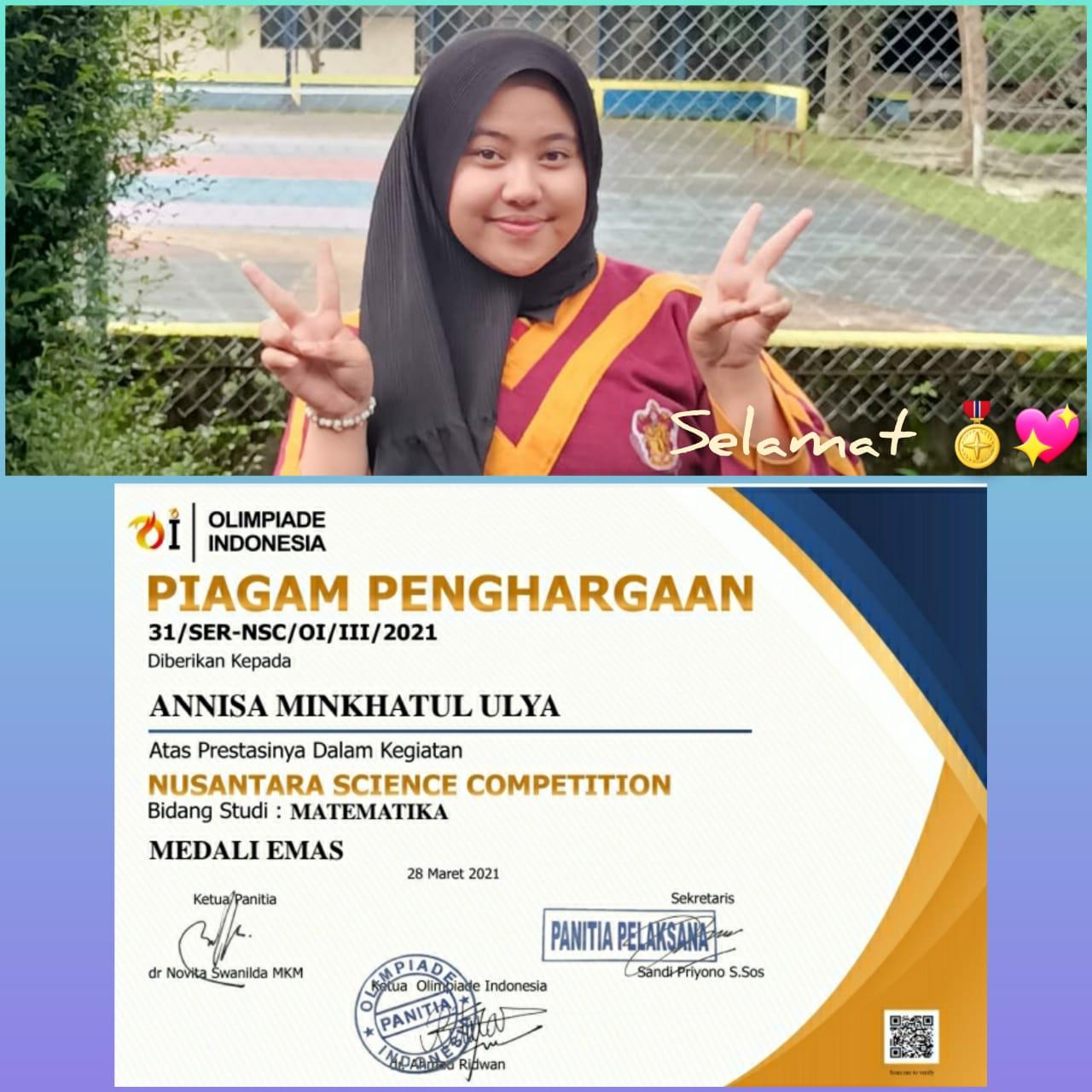 Annisa Mikhatul Ulya: Medali Emas Nusantara Science Competiton Bidang Matematika