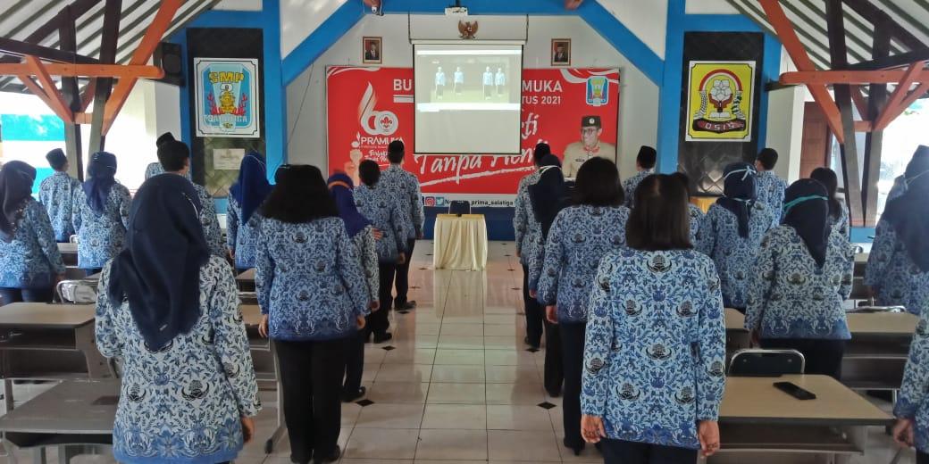 Pendidik dan Tenaga Pendidik SMP Negeri 2 Salatiga Ikuti Upacara Peringatan Hari Kesaktian Pancasila